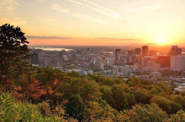 Photograph - Montreal Sunrise Viewed From Mont Royal With City Skyline In The by Songquan Deng