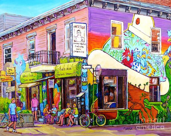 Painting - Montreal Wall Mural Art Chez Jose Sandwich Shop Paris Style Sidewalk Cafe Carole Spandau by Carole Spandau