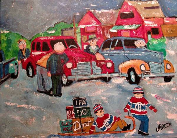 Car Accident Painting - Vintage Montreal West Accident 1940 by Michael Litvack