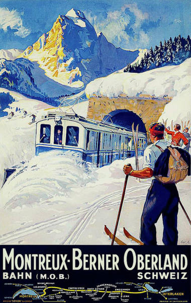 Railway Painting - Montreux, Berner Oberland Railway, Switzerland, Winter, Ski, Sport by Long Shot