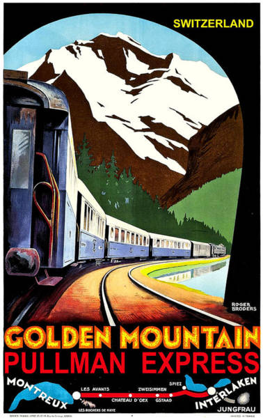 Railway Painting - Montreux, Golden Mountain Railway, Switzerland by Long Shot