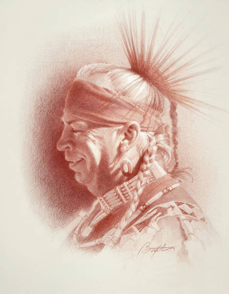 Indian Drawing - Monty by Todd Baxter