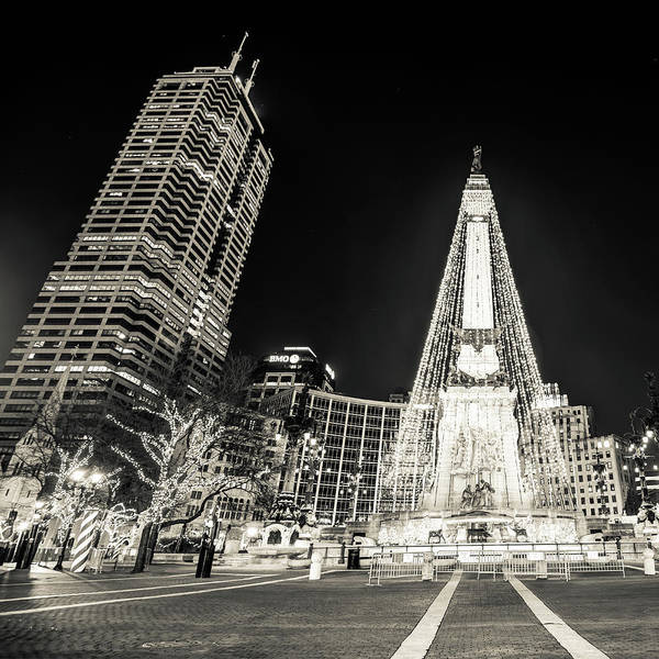 Photograph - Monument Circle At Christmas - Sepia by Gregory Ballos