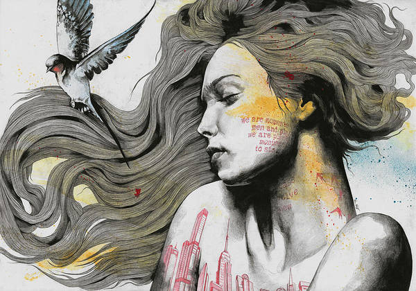 Tattoo Drawing Drawing - Monument - Long Hair Girl With Bird And Skyline Tattoo by Marco Paludet