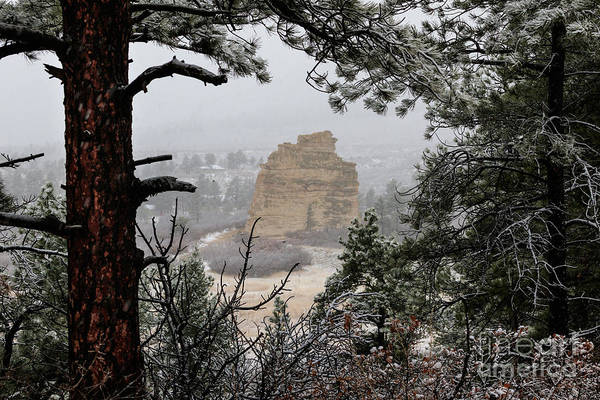 Monument Rock In The Snow Art Print