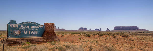 Geologic Formation Photograph - Monument Valley And Utah Sign by Melanie Viola