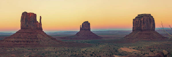 Photograph - Monument Valley Desert Landscape Dusk Panorama by Gregory Ballos