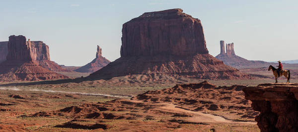 Photograph - Monument Valley Man On Horse Sunrise  by John McGraw