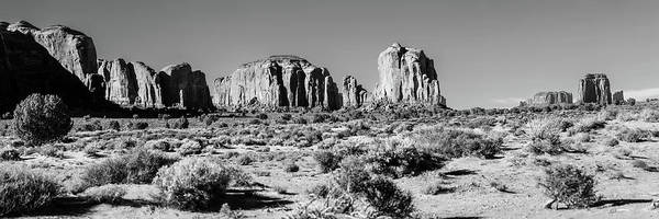 Photograph - Monument Valley Monolith Panorama - Arizona Utah Border Bw Landscape by Gregory Ballos