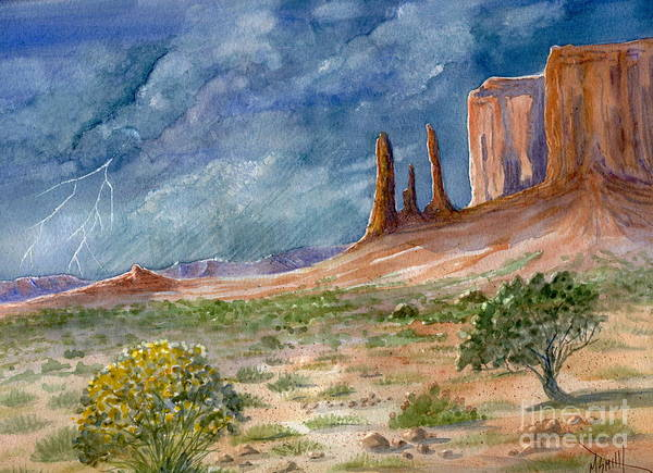 Smith Rock Painting - Monument Valley Raging Storm by Marilyn Smith