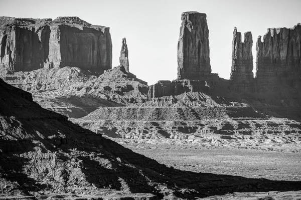 Photograph - Monument Valley Artist Point Rock Formations - Arizona Black And White Landscape by Gregory Ballos