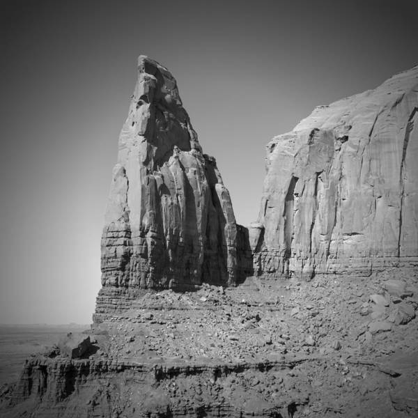 Geologic Formation Photograph - Monument Valley Spearhead Mesa Black And White by Melanie Viola