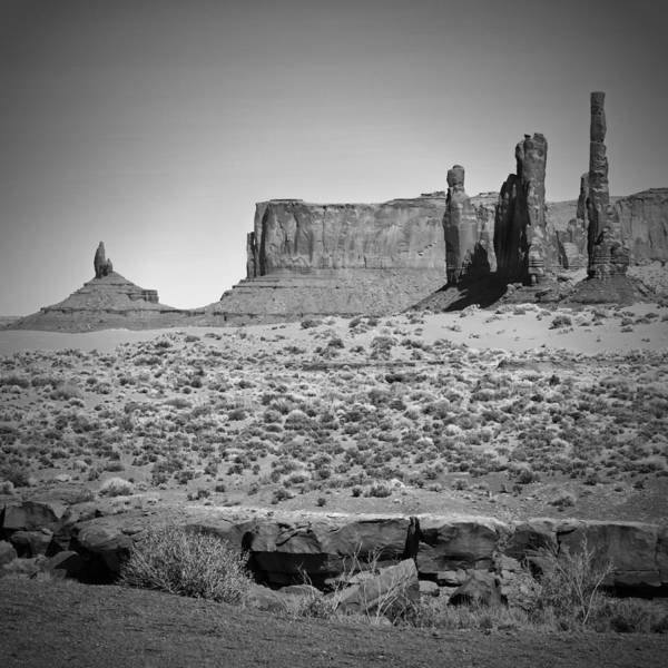 Geologic Formation Photograph - Monument Valley Totem Pole Black And White by Melanie Viola
