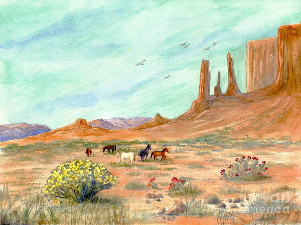 Smith Rock Painting - Monument Valley Vista by Marilyn Smith