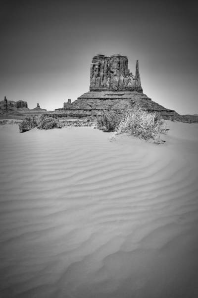Geologic Formation Photograph - Monument Valley West Mitten Butte Black And White by Melanie Viola
