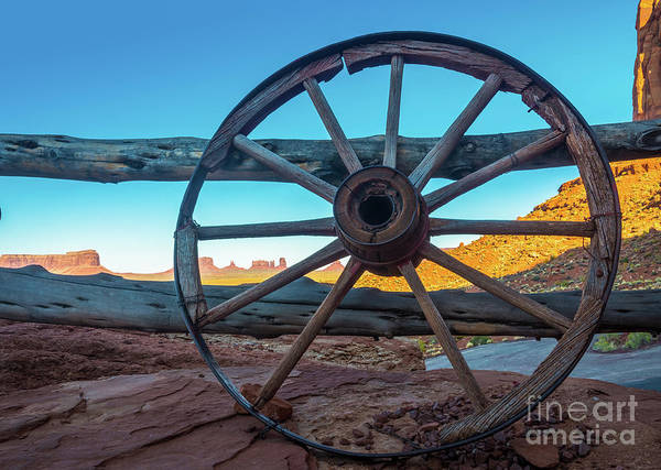 Red Wagon Wall Art - Photograph - Monument Valley Wheel by Inge Johnsson