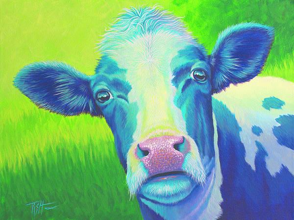 Moo Now Blue Cow Art Print