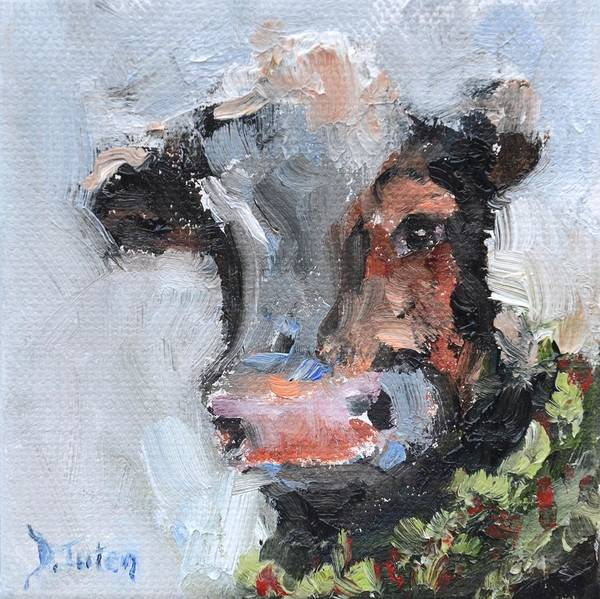 Painting - Moo-rry Christmas by Donna Tuten