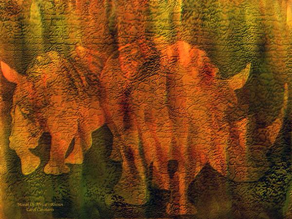 Mixed Media - Moods Of Africa - Rhinos by Carol Cavalaris
