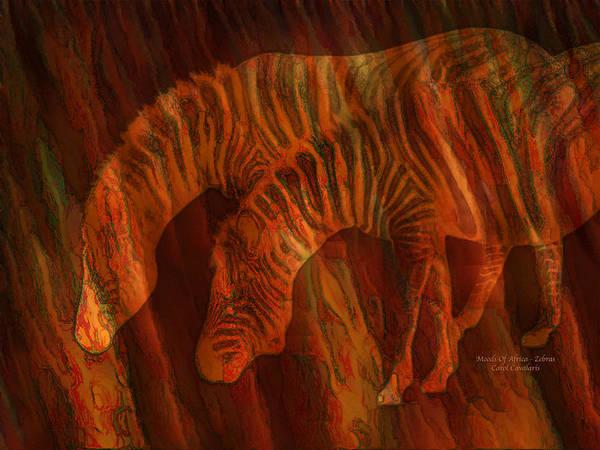 Mixed Media - Moods Of Africa - Zebras by Carol Cavalaris