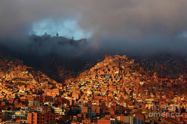 Photograph - Moody Dawn Light Over La Paz Suburbs Bolivia by James Brunker