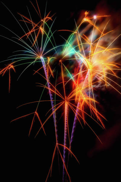 Dazzle Wall Art - Photograph - Moody Fireworks by Garry Gay