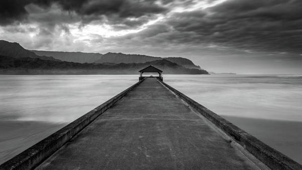 Photograph - Moody Hanalei Pier In Black And White by Pierre Leclerc Photography