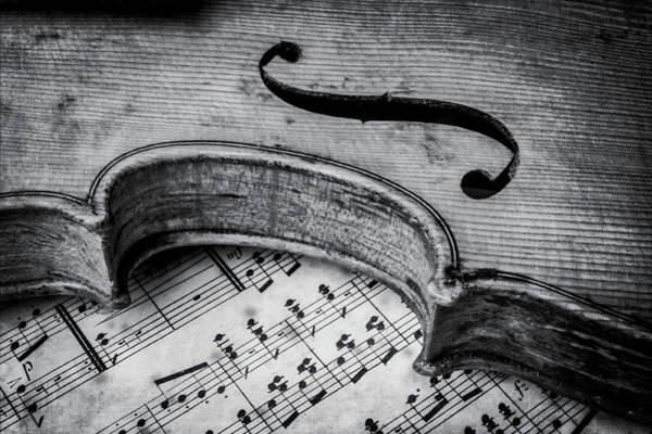 Sheet Music Photograph - Moody Old Worn Violin by Garry Gay