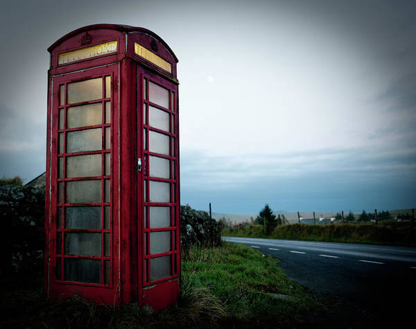 Photograph - Moody Red Telephone Box by Helen Northcott