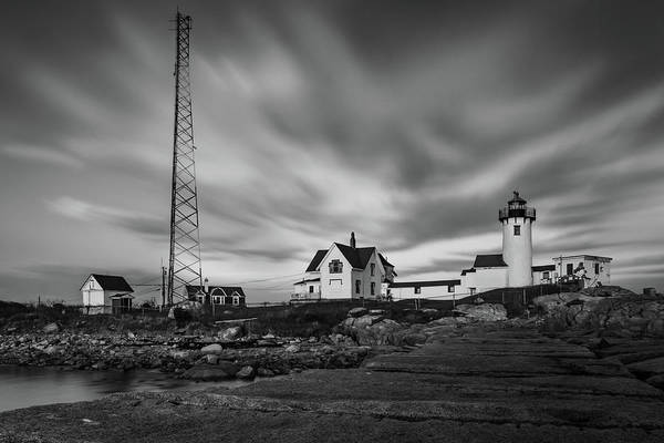 Moody Sky At Eastern Point Lighthouse Art Print