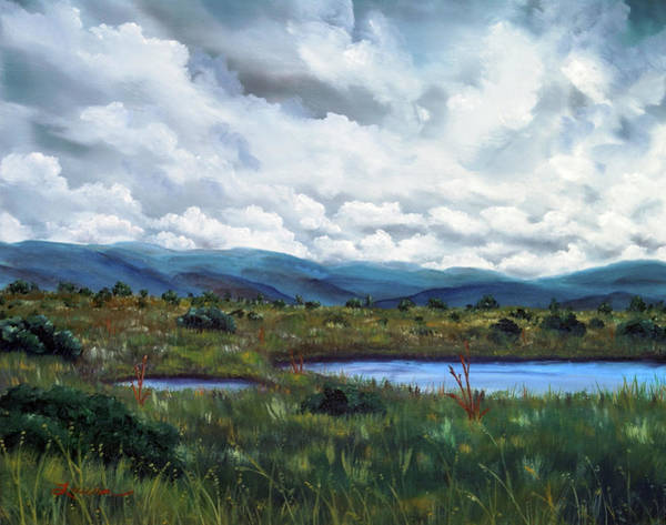 Gloomy Painting - Moody Wetlands by Laura Iverson