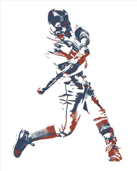 Wall Art - Mixed Media - Mookie Betts Boston Red Sox Pixel Art 11 by Joe Hamilton