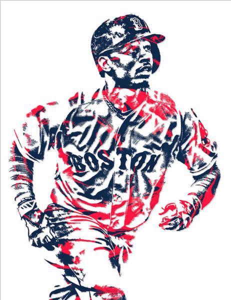 Wall Art - Mixed Media - Mookie Betts Boston Red Sox Pixel Art 2 by Joe Hamilton