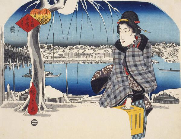 Woodblock Painting - Moon After Snow At Ryogoku by Hiroshige