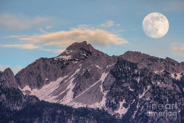 Photograph - Moon And Clouds Over Lone Peak by Spencer Baugh