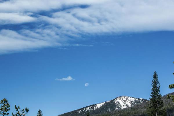 Photograph - Moon And Mountain Peak by Tyson Kinnison