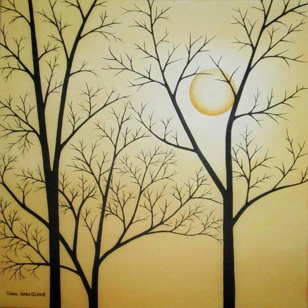 Wall Art - Painting - Moon Behind The Naked Trees by Carol Sabo
