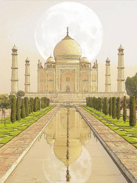 Photograph - Moon Behind The Taj Mahal by Ericamaxine Price