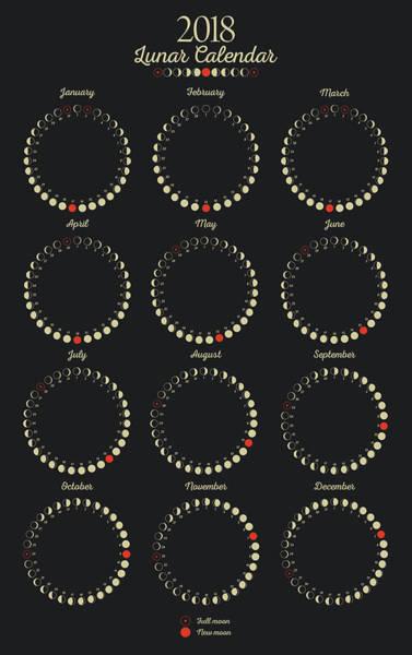 Digital Art - Moon Calendar 2018 by Zapista Zapista