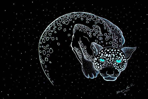 Eclipse Mixed Media - Moon-cat  by Dwayne  Hamilton