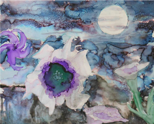 Painting - Moon Flower In Bloom by Pam Halliburton