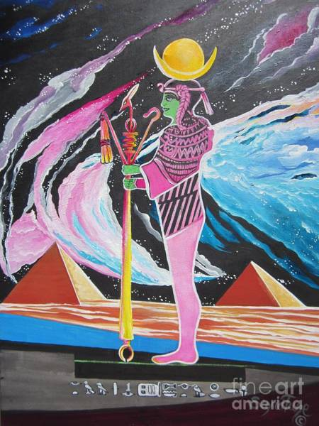 Painting - Blaa Kattproduksjoner             Moon God - Osiris by Sigrid Tune