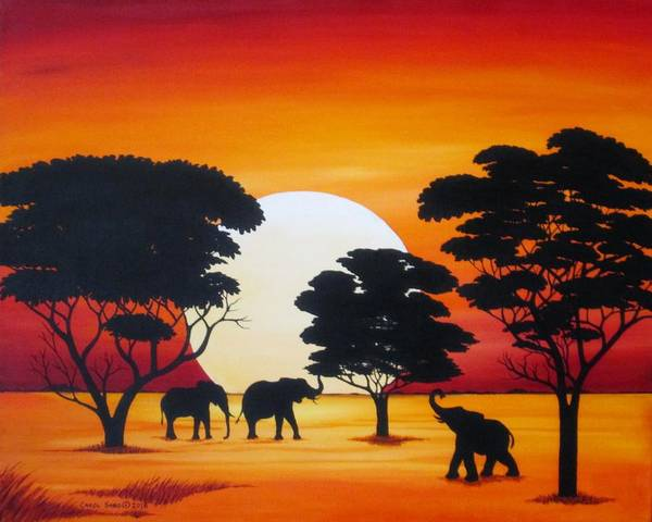 Wall Art - Painting - Moon In Africa Elephants by Carol Sabo