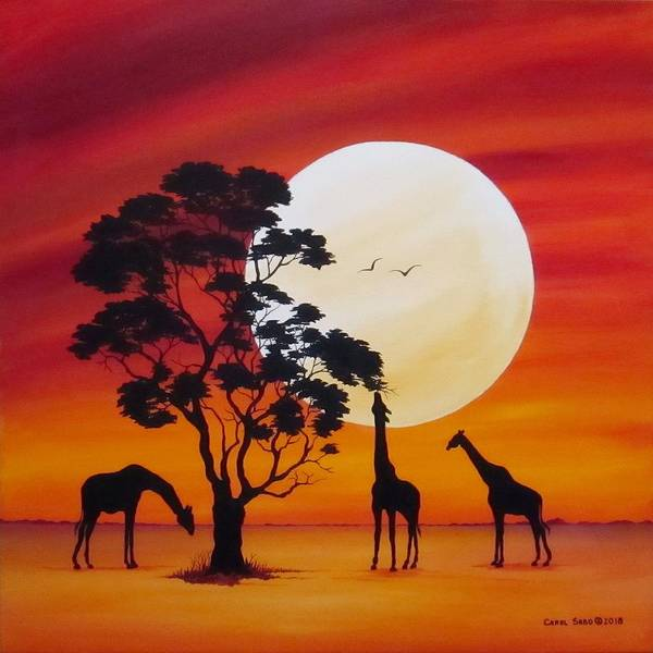 Wall Art - Painting - Moon In Africa Giraffes by Carol Sabo