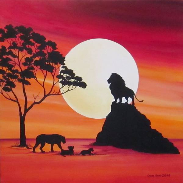 Wall Art - Painting - Moon In Africa Lions by Carol Sabo