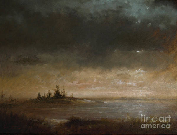 Wall Art - Painting - Moon In Maine by Lawrence Preston