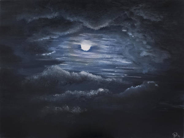 Painting - Moon In Nc by Davend Dominick