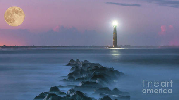 Photograph - Moon Light Over Morris Island Lighthouse by Dale Powell