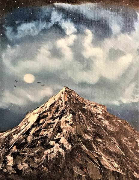 Wall Art - Painting - Moon Lit Mountain by Willy Proctor