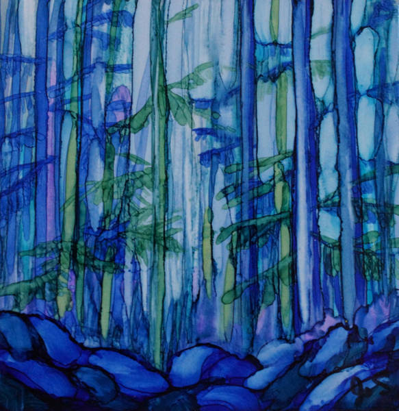 Painting - Moonlit Forest by Joanne Smoley